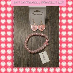 NWT Breast cancer Awareness EARRINGS!/BRACELET set